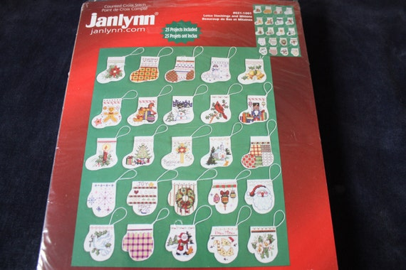 Counted Cross Stitch Kit Set of 25 Lostsa Stockings & Mittens for Christmas Ornaments By Janlynn