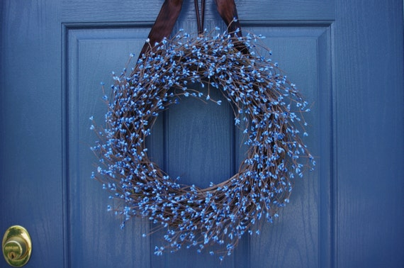 Items Similar To Blue Berry Wreath Year Round Wreath On Etsy