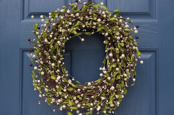 Cream Berry Wreath with Green Leaves