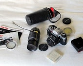 Pentax Program Plus 35mm Film Camera 50mm f/ 1:2 and Telephoto Lens Bundle