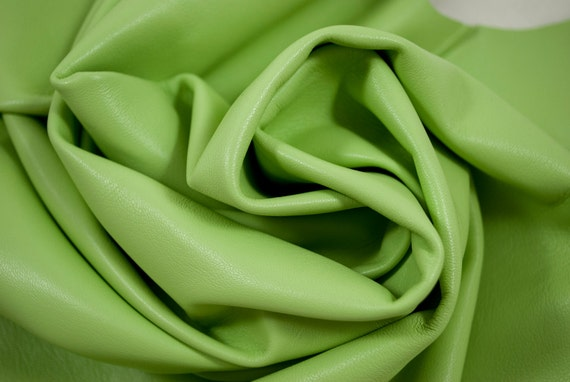 lambskin acid green butter soft pastel Leather 5 ft square feet -  cod209