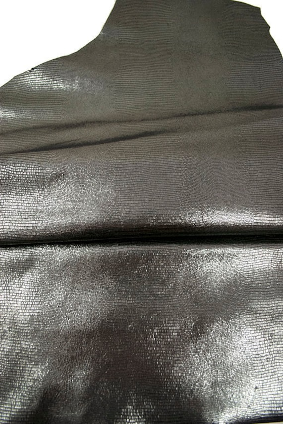 Leather hide reptile charcoal metallic sequin lambskin 3 ft square feet COD238