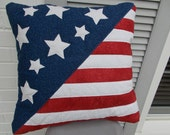 Hand-Quilted Stars and Stripes Pillow