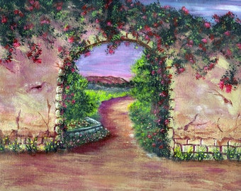 GARDEN WALK Handpainted Greeting Card