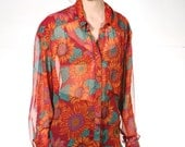 vtg FLORAL slouchy SHEER 90s red teal oversize blouse button up
