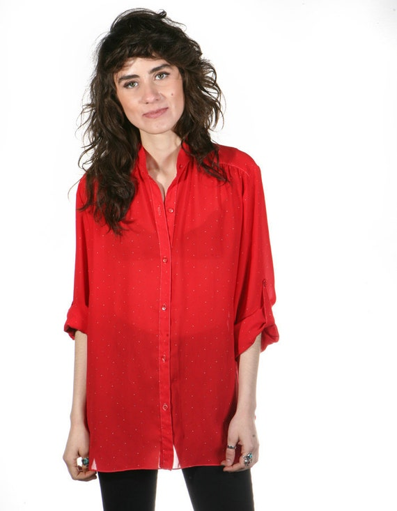 vtg 70s 80s SHEER red oversize slouchy blouse button up