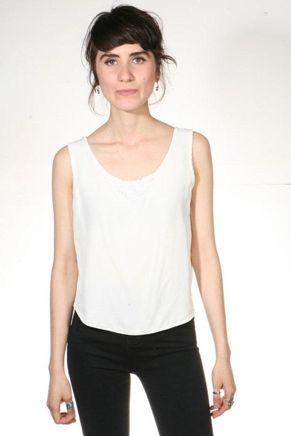 90s CROP top white tank blouse slouchy