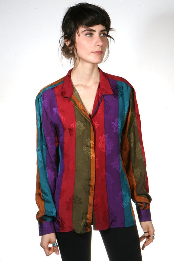 COLOR BLOCK vertical striped SILK slouchy blouse top