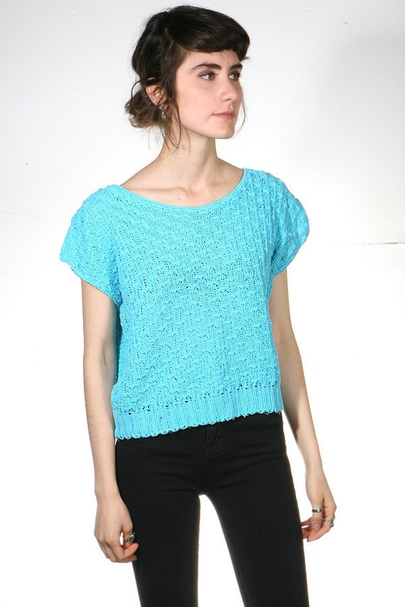 90s TURQUOISE crop top knit sweater shirt blouse