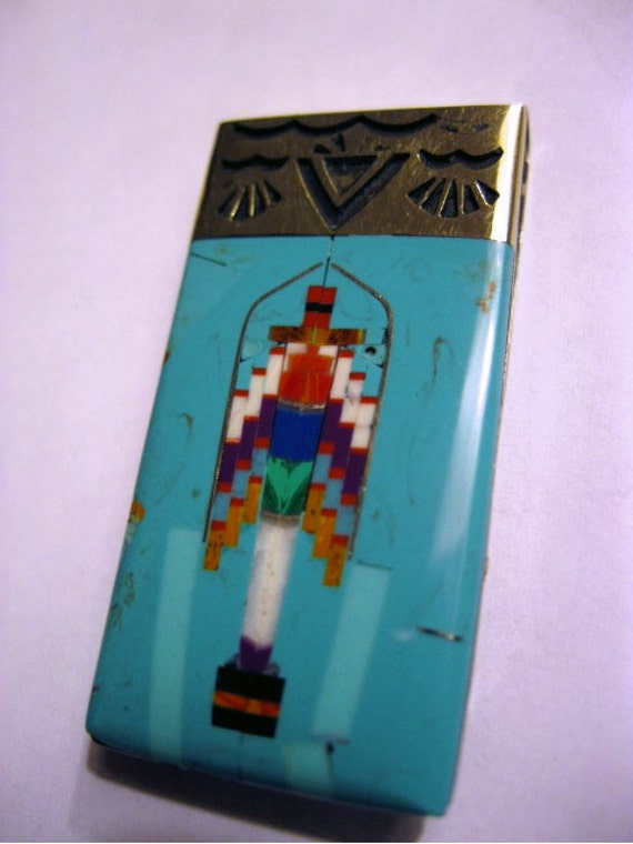 INLAID TURQUOISE and other stones southwestern money clip -