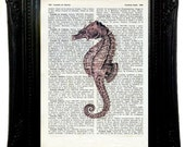 dictionary art Vintage Seahorse Vintage Art Print 6,69x9,2 Seahorse Print on upcycled vintage dictionary page