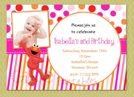 Girl Elmo Sesame Street Birthday Invitation