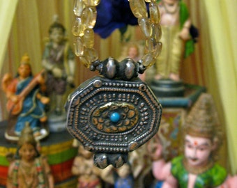 Gypsy Queen Citrine Necklace - vintage from Jaipur, India