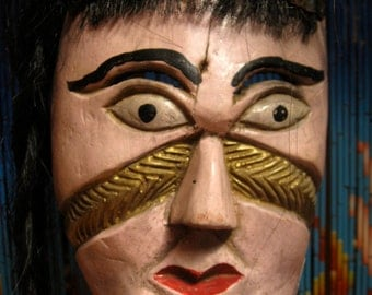 Rare Mexican Wooden Mask of an Indian Woman with Long Hair - vintage from 1960s