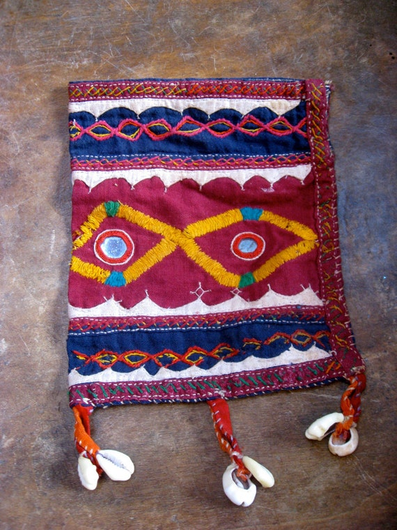 Bohemian Burgundy Indian Pouch Bag with Mirrors and Cowry Shells - vintage from India
