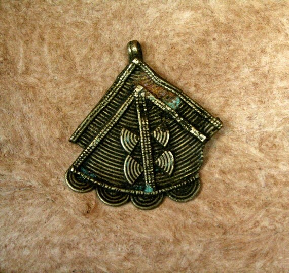 Vintage African Brass Pendant from the Kuba Tribe