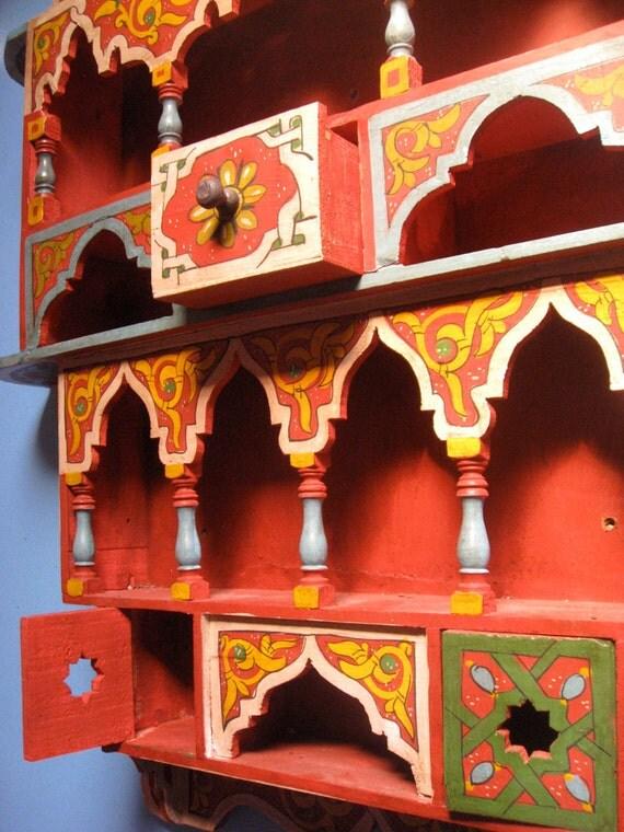 Vintage Moroccan Spice Rack Ethnic Bohemian Home Decor Shelf