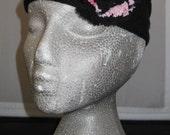 Headband with three flowers - Black