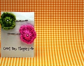 Two Crochet Flower Bobby Pins in Pink and Green