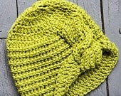 Green Crocheted Cloche Hat with Cable Adornment