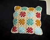 Granny Square Throw Pillow Cover  -  Gold, Red, Light Aqua and Dark Aqua Plus 16 X 16 Pillow Insert