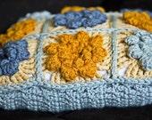 Crochet Granny Square Pillow - Sky Blue, Antique Blue and Marigold 12 X 12
