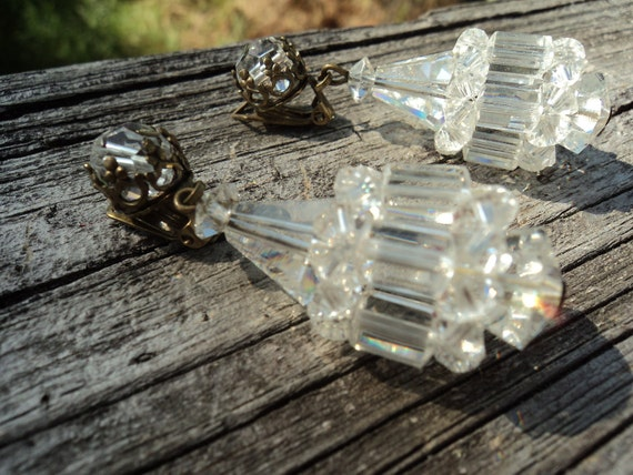 Sparkling Vintage Crystal Chandelier Earrings