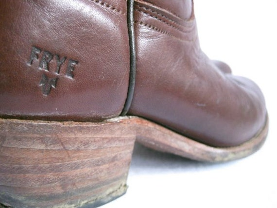 Wonderful 70s Frye Western Ox Blood Boots 7.5 / 8.5 Pull up tabs Stacked wooden heel Wine Brown