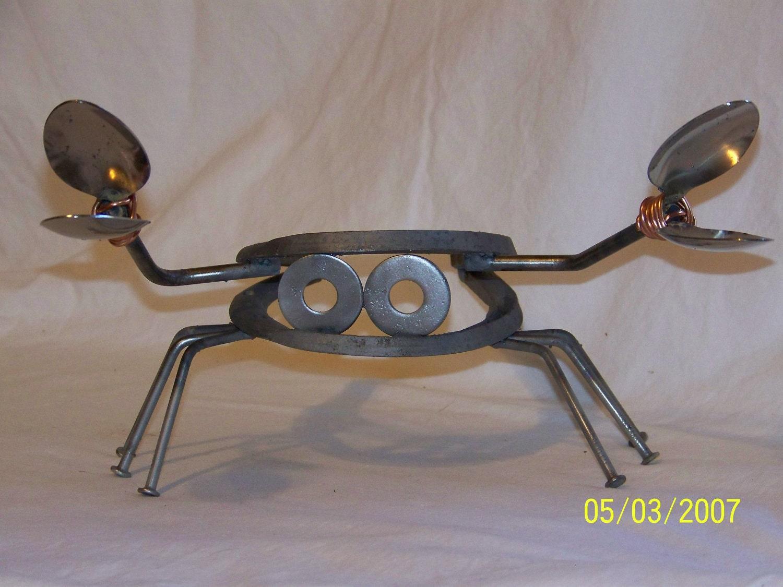 Primitive garden folk art metal horseshoe crab with by muckswaz - Simple metal art projects ...