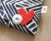 Heart On zip pouch for a cause - Blue White Lines