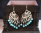 Blue beaded earrings - blue - summer - turquoise