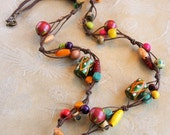 Colored wooden beaded necklace - colorful