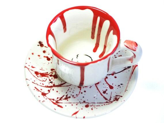 Blood-Spatter Ceramic Teacup and Saucer