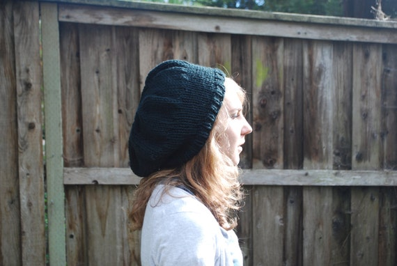 Black Hand Knit Slouchy Beanie