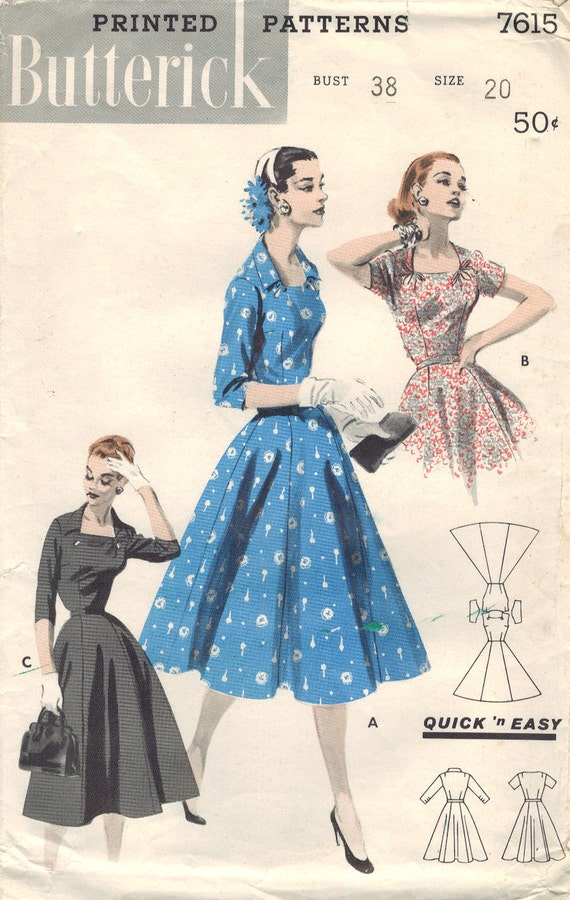 RESERVED FOR GERRY 1950's Vintage Dress Pattern Butterick 7615 pattern. 1956 Size 20 bust 38 Quick 'n Easy