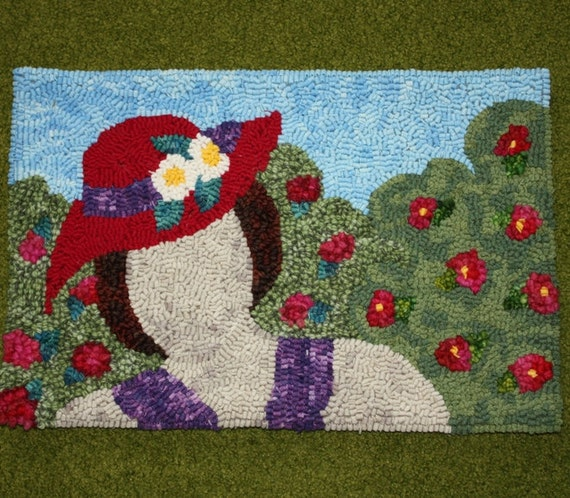 Hand hooked rug - Lady with Summer Hat Rug