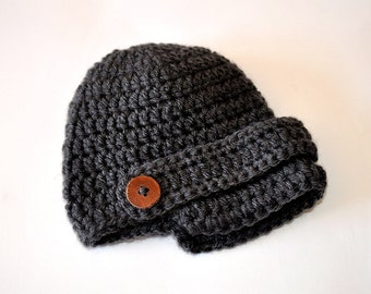 Charcoal Gray Newsboy Baby Boy Photo Prop Beanie Hat with Button Strap