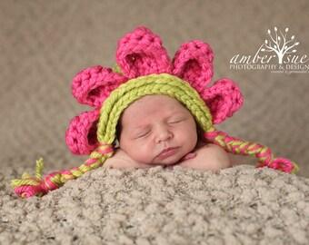Pink and Green Flower Bonnet Baby Girl Newborn Photo Prop Flower Hat