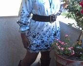 Women Lace Trim Border Print Cotton Peasant Dress - M/L