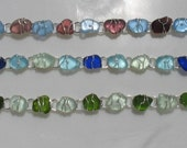 Braclelet  Maine Sea Glass Linked Style with Wire Wrapping
