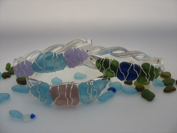 Bangle Bracelet with Maine Sea Glass Wire Wrapped -  Silver Plate