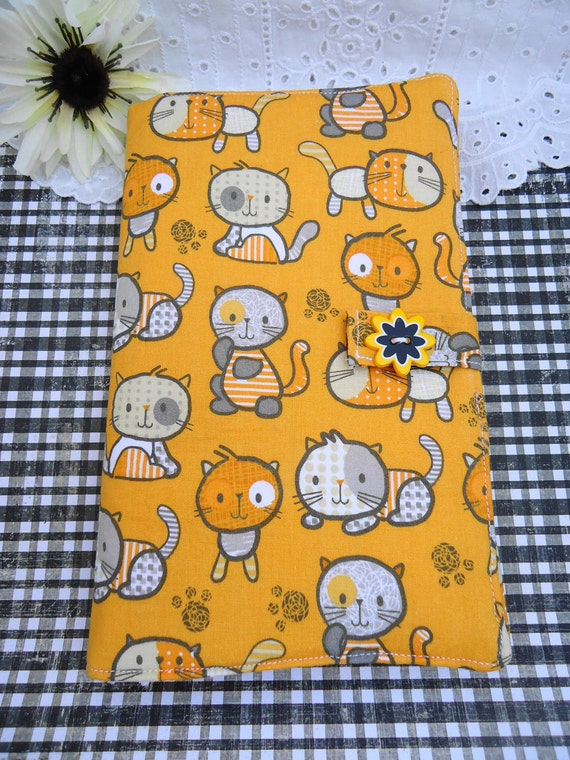 Yellow Cuddly Cats and Kitties Kindle Fire eReader Cover Wrap Handmade Unique Ready to Ship