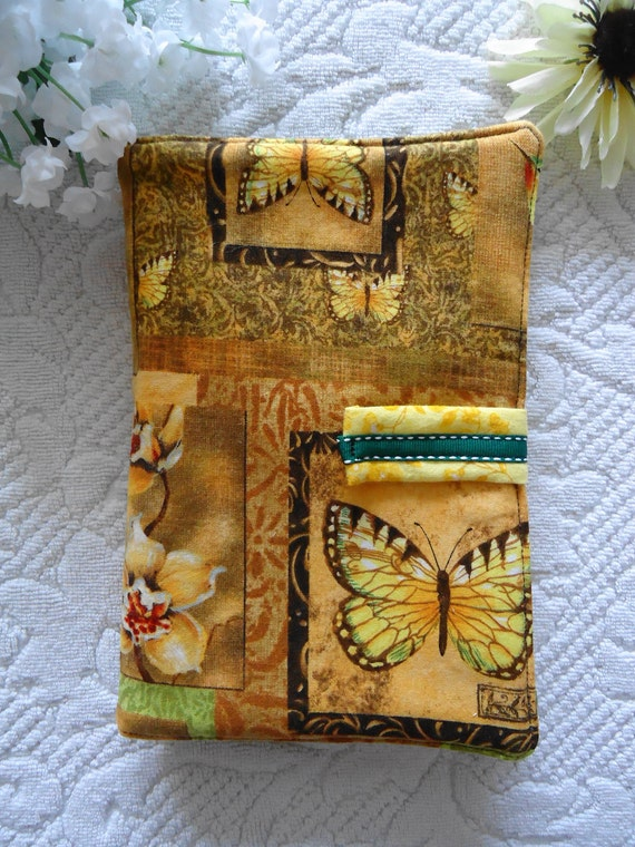 Butterfly Dragonfly and Hummingbird Susan Winget Green and Yellow Kindle Fire eReader Cover Wrap Handmade Unique Ready to Ship