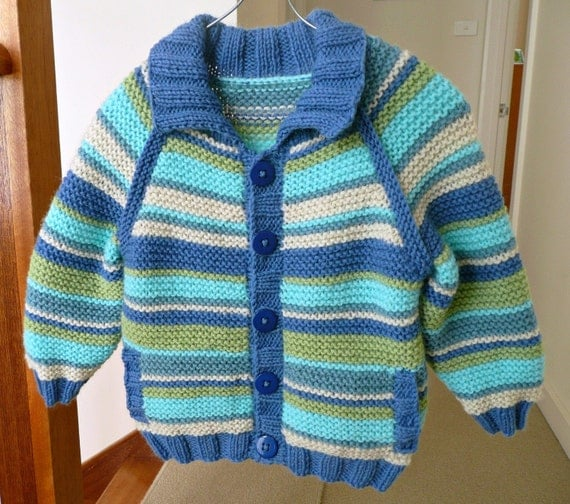 Hand knitted, striped & collared cardigan for baby boy, bright and cosy.