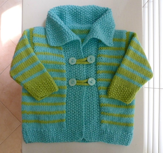 RESERVED FOR DIPTI - Hand knitted baby cardigan, lime and aqua stripes, collar, fit about 3-6 months