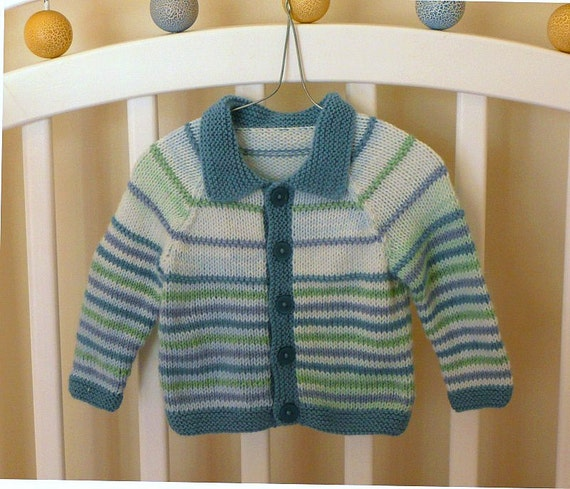 Hand knitted baby cardigan with collar, sea coloured stripes, fit 3-6 months