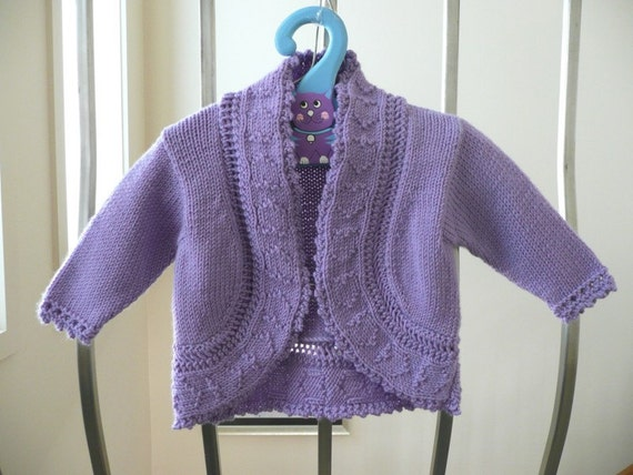 Hand knitted mauve bolero cardigan for baby girl approx. 6 months. Merino wool.