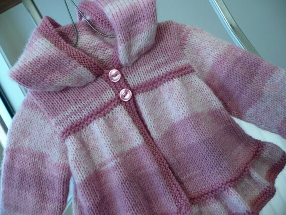 Feminine frilled hoodie with pink stripes - baby girl 3 - 6 months - hand knitted