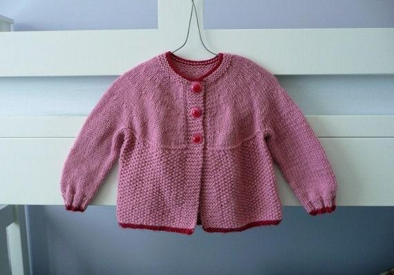Handknitted pink baby cardigan - circular yoke - suit girl to about 6 months