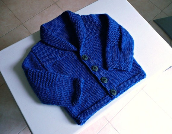 RESERVED for CATE    Handknitted blue wool baby cardigan, shawl collar, fit approx. 0-4 months